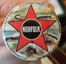 "Vintage NORFOLK RAILROAD ro Black Hills, Denver, the Coast, Pinback 1 1/2"""