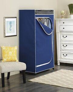 "36"" Clothes Closet w/ Blue Cover Heavy Duty Portable Sturdy Garment Rack Storage"