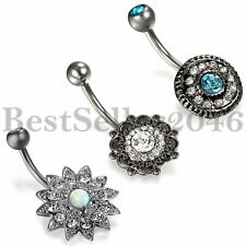 Nail Cz Body Piercing Womens Jewelry 3pcs Vintage Belly Button Ring Dangle Navel