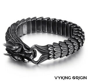 Men's Stainless Steel Matte Vintage Dragon Heavy Weighted Viking Norse Bracelet