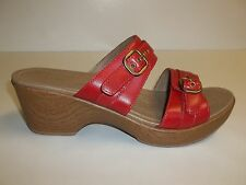 Dansko Size 10.5 to 11 JESSIE Red Leather Wedge Sandals New Womens Shoes NWOB
