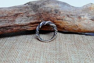 Handmade hammered Saxon viking twisted silver ring