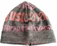 NEW RRP£110 JUST CAVALLI DESIGNER PINK GREY WOOL BEANIE HAT CHRISTMAS PRESENT G