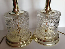Pair Vtg Heavy Crystal Glass Floral  Table Lamps with Shades MINT