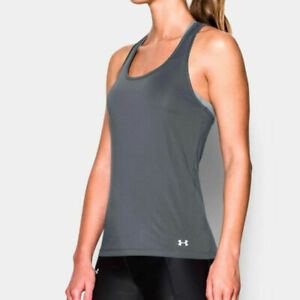 Under Armour UA HeatGear Break Of Dawn Racer Tank Grey Ladies Running Vest S