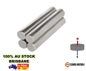 2x Strong Rare Earth Cylinder Magnets 12mm x 50mm N48 | Super Rod Neodymium Arts
