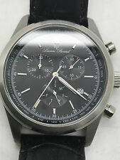 Mens LUCIEN PICCARD Eigar Chronograph Date Black Leather Band Wrist Watch-Swiss