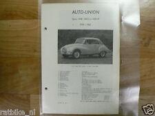 AU2-AUTO-UNION TYPEN 1000, 1000S EN 1000 SP 1958-1962 -TECHNICAL INFO