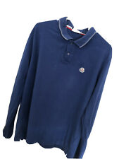Moncler Long Sleeve Polo - Blue - XXL - Mens