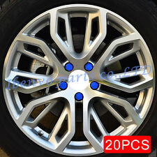 20pcs Car Truck Wheel Tyre Centre Hub Screw Bolt Nut 19mm Blue Rubber Caps Cover