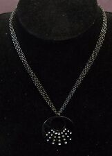 with disc pendant white stones Lovely dark tone metal chain necklace