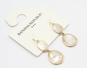 Banana Republic Gold Drop Earrings with Mother of Pearl Inlay nwt #E1353