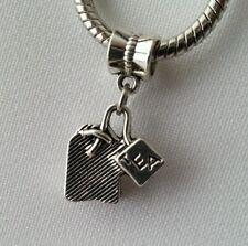 Silver Tea Bag Tea Time Dangle slider Beads Fit European Charm Style Bracelet
