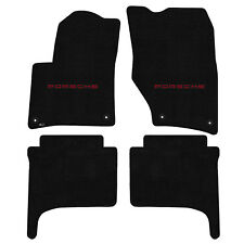 FOR PORSCHE CAYENNE 2011-2015 Front - Rear Floor Mats BLACK PORSCHE LOGO 600274