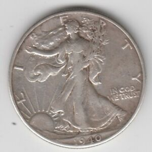 Coin 1940 USA Eagle silver half dollar in good very fine condition
