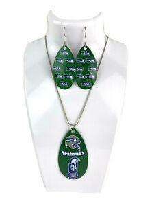 NFL Seattle Seahawks Team Repeat Logo Teardrop Spinner Earrings & Necklace Set