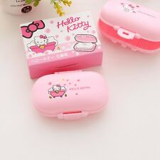 New Hello Kitty Plastic Soap Box Dishes Bathroom Soap Holder Container Travel