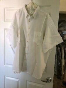 Polo Ralph Lauren 5XB Linen Blend White Shirt Mens Short Sleeve Button Down