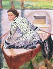 Unknown Impressionist - Young Woman in Red Rowing Boat - Oil Painting
