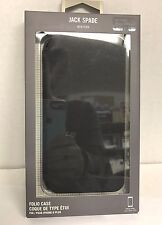 JACK SPADE - Black Leather Apple iPhone 6 Plus and 6s Plus Wallet Folio Case
