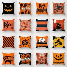 Halloween Bruja Fantasma Calabaza Almohadón Funda Cubierta Cojín Decoración Gato Mágico