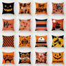 Halloween Ghost Witch Pumpkin Throw Pillow Case Magical Cats Cushion Cover Decor