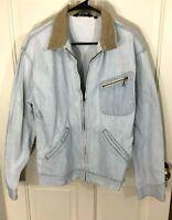 Vintage Polo by Ralph Lauren Faded Denim Jacket Zip Up Brown Corduroy Collar