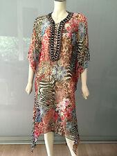 Monique Leshman Tunika Kleid 36 Seide Iro Rot Bestickt Hippie DVF Dress Silk S