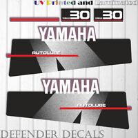 Yamaha 30 HP AUTOLUBE outboard engine decal sticker Set Kit reproduction Black