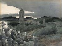 ROBERT STANDISH-SWEENEY Watercolour Painting DUSK AT CATALONIA