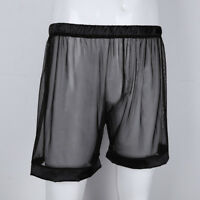 Men's Transparent Underwear See Through Loose Lounge Boxers Shorts Trunks Club