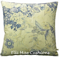 Swaffer Romsey Designer Fabric Linen Blue Floral Cushion Pillow Cover
