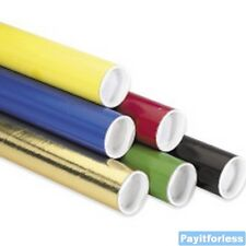 "3"" x 12""  Black Blue Gold Green Red Yellow Shipping Mailer Mailing Tubes 24 Pc"
