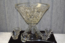 Pressed Glass Large Punch Bowl, Matching Pedestal, Four Cups and Ladle L2372