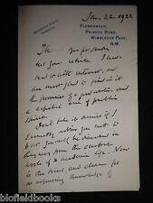 Handwritten Letter by John Morley, Viscount Morley of Blackburn (1838–1923) 1922