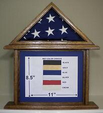 3 X 5 OAK DOCUMENT AND FLAG DISPLAY CASE FRAME CAPITAL AMERICAN USA MILITARY BOX