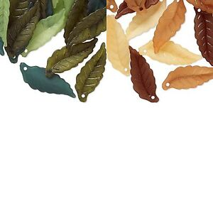 20 Big 1 inch Plastic Acrylic Assorted Frosted Colored Leaf Drop Bead Charms