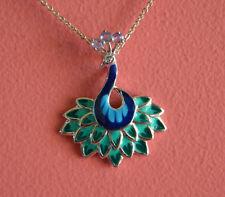 925 Sterling Silver Rhodium Tanzanite Semi Gemstone Peacock Pendant Necklace