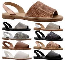 Ladies Womens Flats Menorcan Sling Back Flip Flop Beach Sandals Pumps Shoes Size