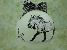 T011 Hand-made Christmas Ornament stylized HORSE tattoo - playful cat horse