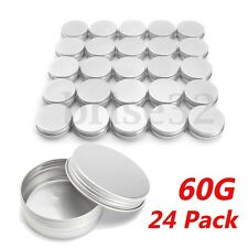 24 X Steel Round Tin Cans 2 oz Screw Top Lid Storage Beard Lip Balm Empty Can