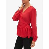 NWT Gap Long Sleeve Wrap True Red Top Small