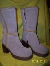 * Somethin Else by SKETCHERS Calf Thrivers Beige Sand Suede Trim Boots Size 6.5