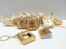 12 pcs Mini Bible Keychain party favors Gold, baptism, communion-español bautizo