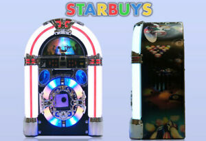 Retro 60s Style Mini Jukebox Vintage Design With CD Music FM Radio 3.5mm Line in