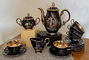 Bird Flowers Cobalt Blue Royal T.M Seckin Limoges Tea/Coffee Set For 6 France