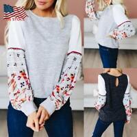 Women Lady Long Sleeve O Neck Sweatshirt Floral Splice Tops Loose Casual Blouse