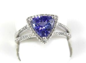 Natural Trillion Tanzanite & Diamond Solitaire Bridge Ring 14k White Gold 1.98Ct