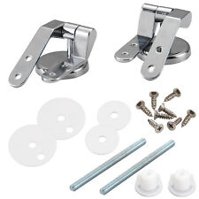 Pair of Toilet Chrome Hinges With Fittings Toilet Seat Replacement Mountings Top