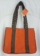 Bath and Body Works Faux Suede Orange Handbag Tote New SH289